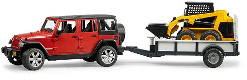 Bruder JEEP Wrangler Unlimited Rubicon met aanhanger en Cat lader